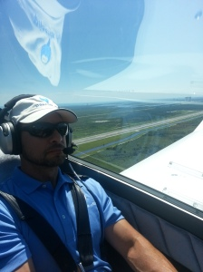 Flying over the shuttle runway at Kennedy Space Center